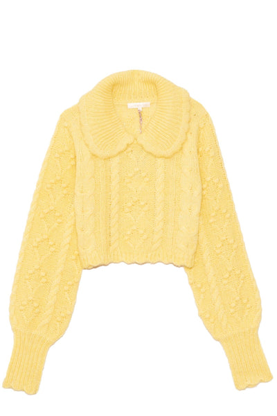 Berget Cropped Collared Sweater in Rise and Shine