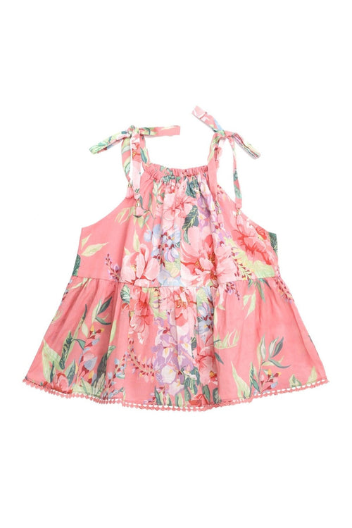 Kids Bellitude Flounce Top in Watermelon Floral