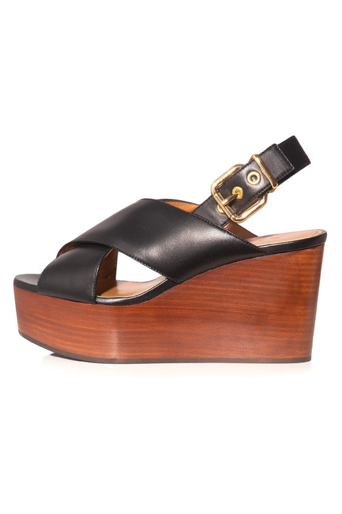 Criss Cross Platform Sandal in Black