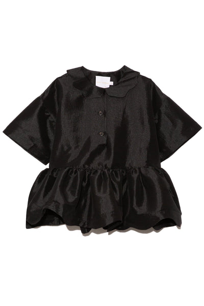Mila Peplum Taffeta Top in Black