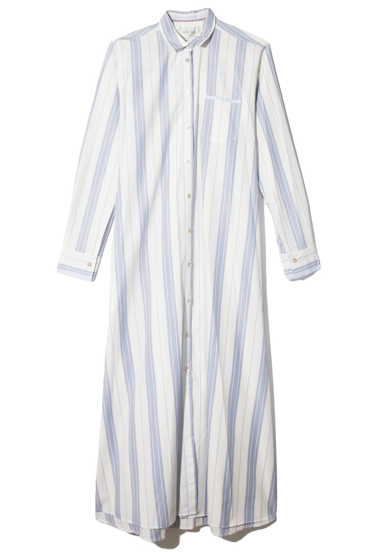 Collared Summer Striped Print Contrast Trim Pocketed Shirt Dress