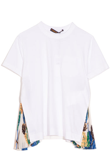 Sun Surf Monstera T-Shirt with Side Pleats in White