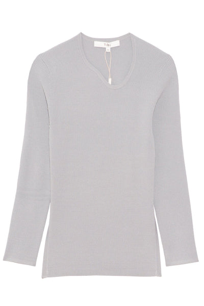 Giselle Stretched Neck Scoopback Pullover in Steel Grey