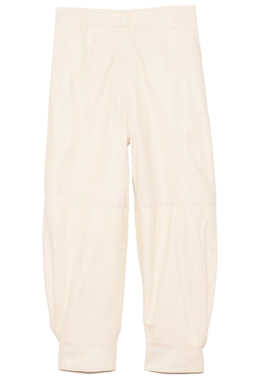 Leather Sculpted Pant in Vanilla Cream