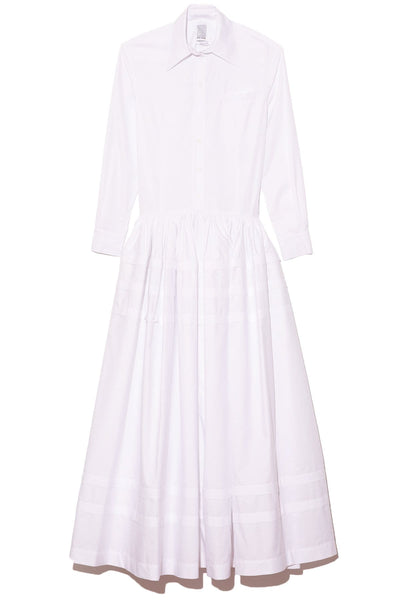Drop Waist Pleat Stripe Shirtdress in White