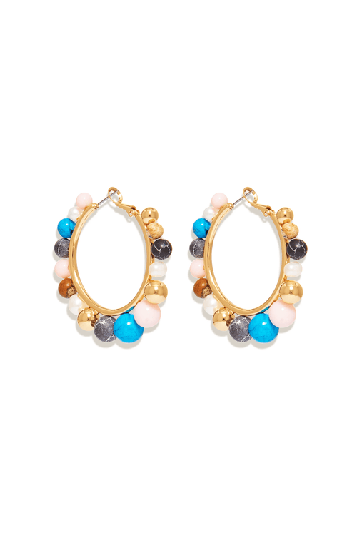 Cleo Beaded Hoop Earring in Multi
