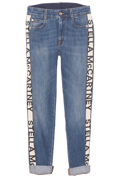 Mid Rise Skinny Boyfriend Jean with Logo Tape in Sky Blue
