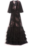 Floral Tiered Gown in Black