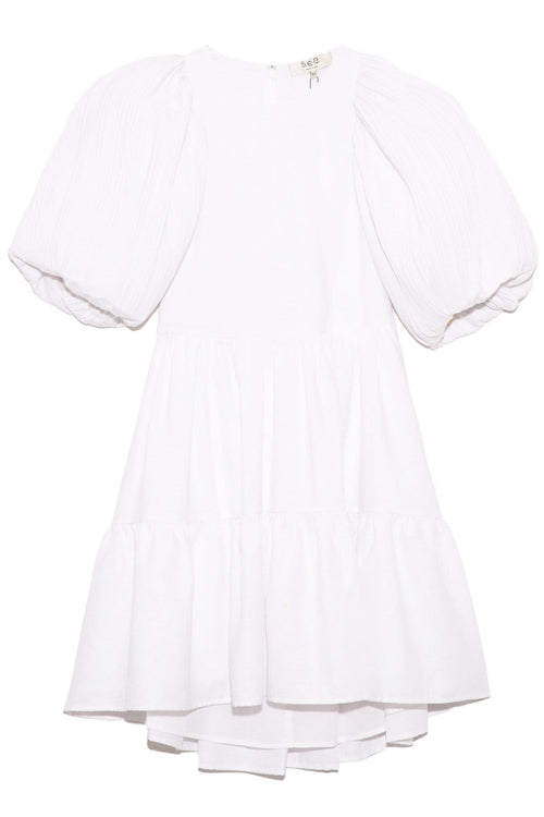 Bailey Broomstick Puff Sleeve Tiered Dress in White