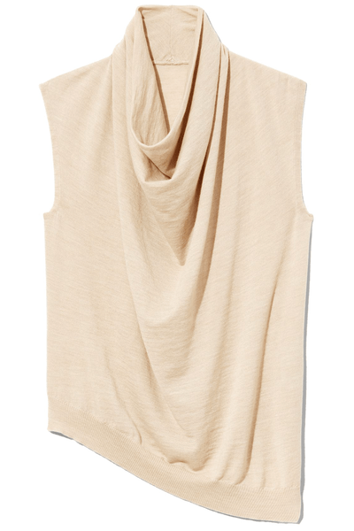 Superfine Merino Cowlneck Shell Sweater in Beige