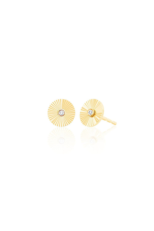 Diamond Fluted Disc Stud Earrings in Yellow Gold
