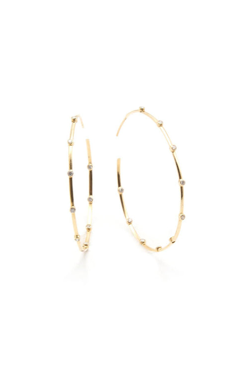 14K Gold Pave Diamond Station Hoops