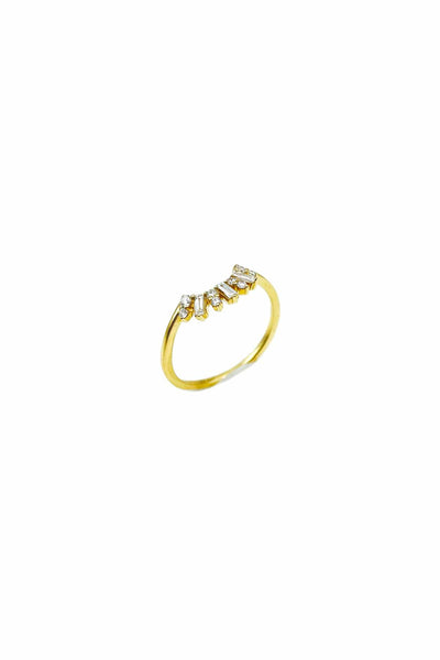 Round and Baguette Diamond Crescent Ring in Yellow Gold