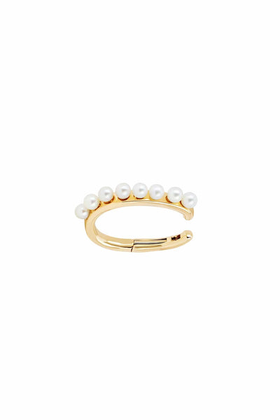 Pearl Large No Piercing Ear Cuff in Yellow Gold