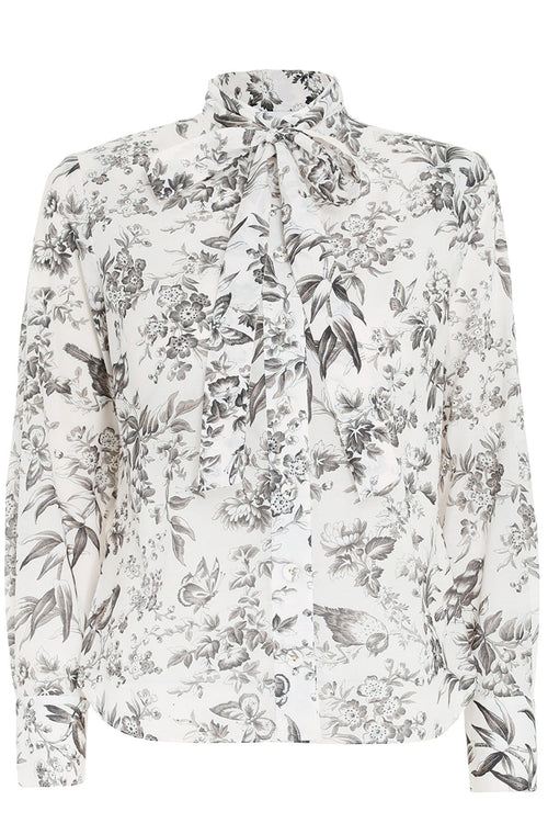 Cotton Voile Shirt in Black Bird Toile