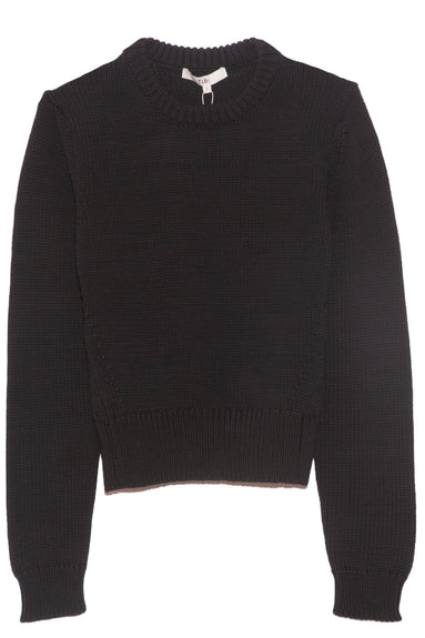 Tube Yarn Shrunken Crewneck Pullover in Black