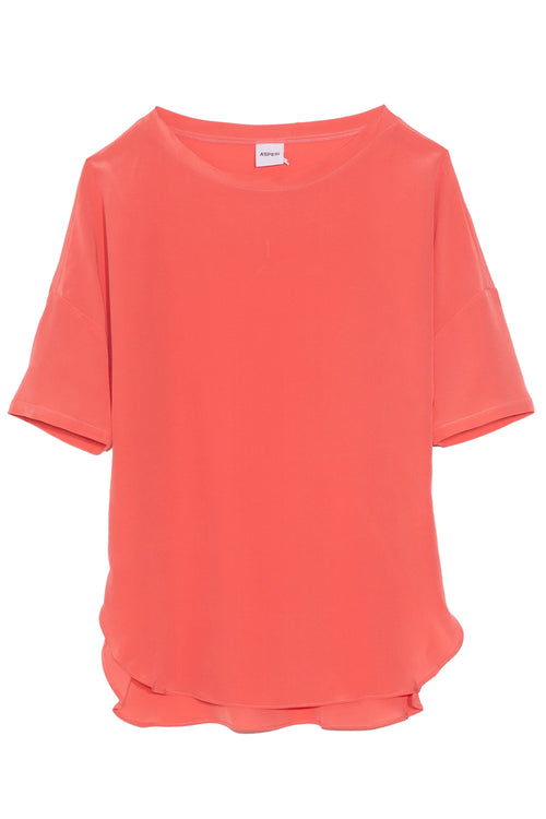 Short Sleeve Silk Top in Azalea