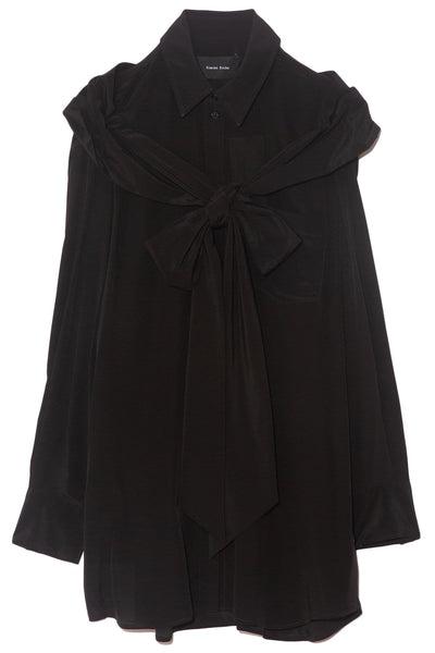 Masculine Bow Shirt in Black