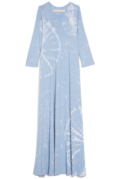 Half Sleeve Drama Maxi Dress in Blue Constellation Tie Dye