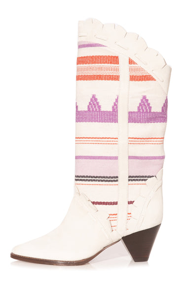 Leesta Boot in Ecru/Pink