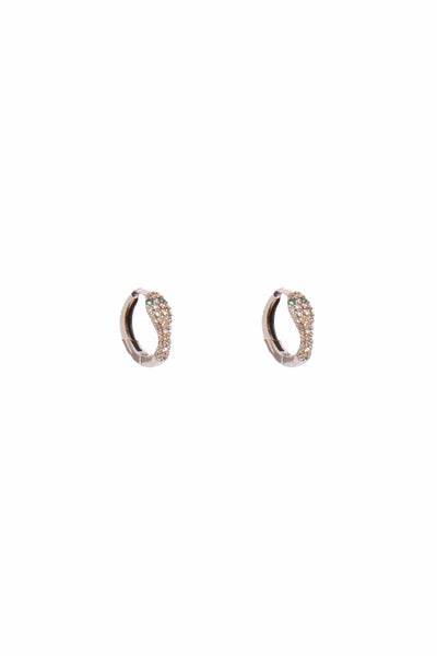 Pave Diamond Snake Huggie Earrings