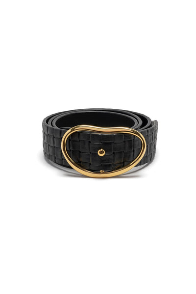 Wide Georgia Belt in Black Wicker