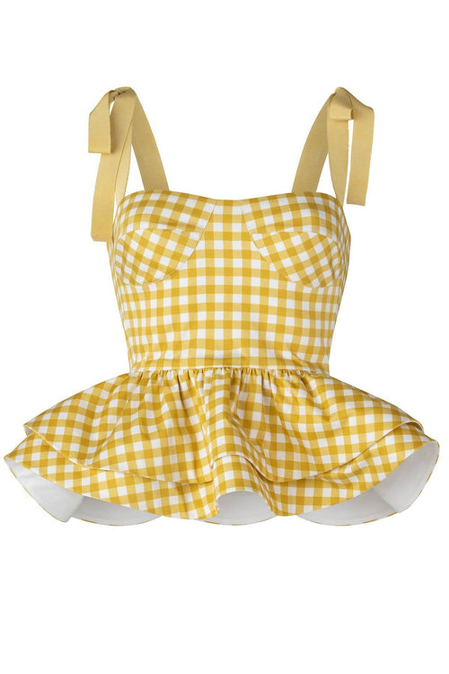 Junquillo Top in Citron Gingham