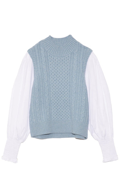 Melanie Cable Stitch Turtleneck Combo Top in Sky