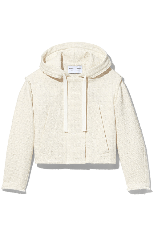 Textured Tweed Hooded Jacket in White