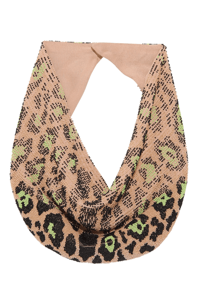 Leopard Le Charlot Necklace in Nude/Green