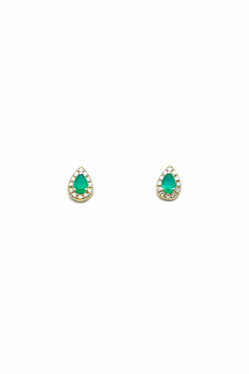 Pave Diamond and Emerald Teardrop Earrings in Yellow Gold