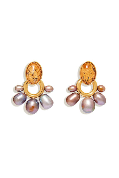 Adelaide Pearl Drop Earring in Jasper Light Brown