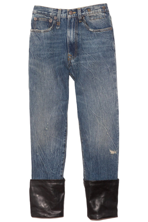 Axl Slim Jean with Cuff in Kelly/Leather