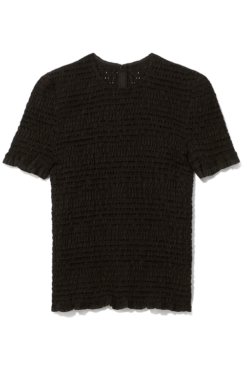 Short Sleeve Smocked Top in Black