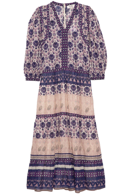 Brigitte Border Maxi Dress in Violet