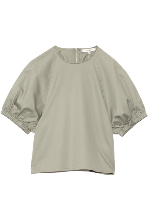 Eco Poplin Shirred Sleeve Top in Sage