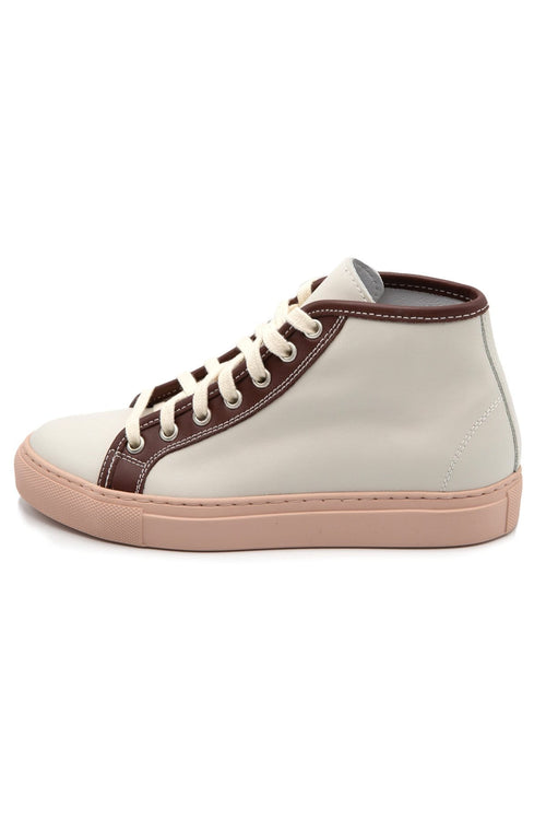 Fyodor Leather High-Top Sneakers in Off White/Auburn