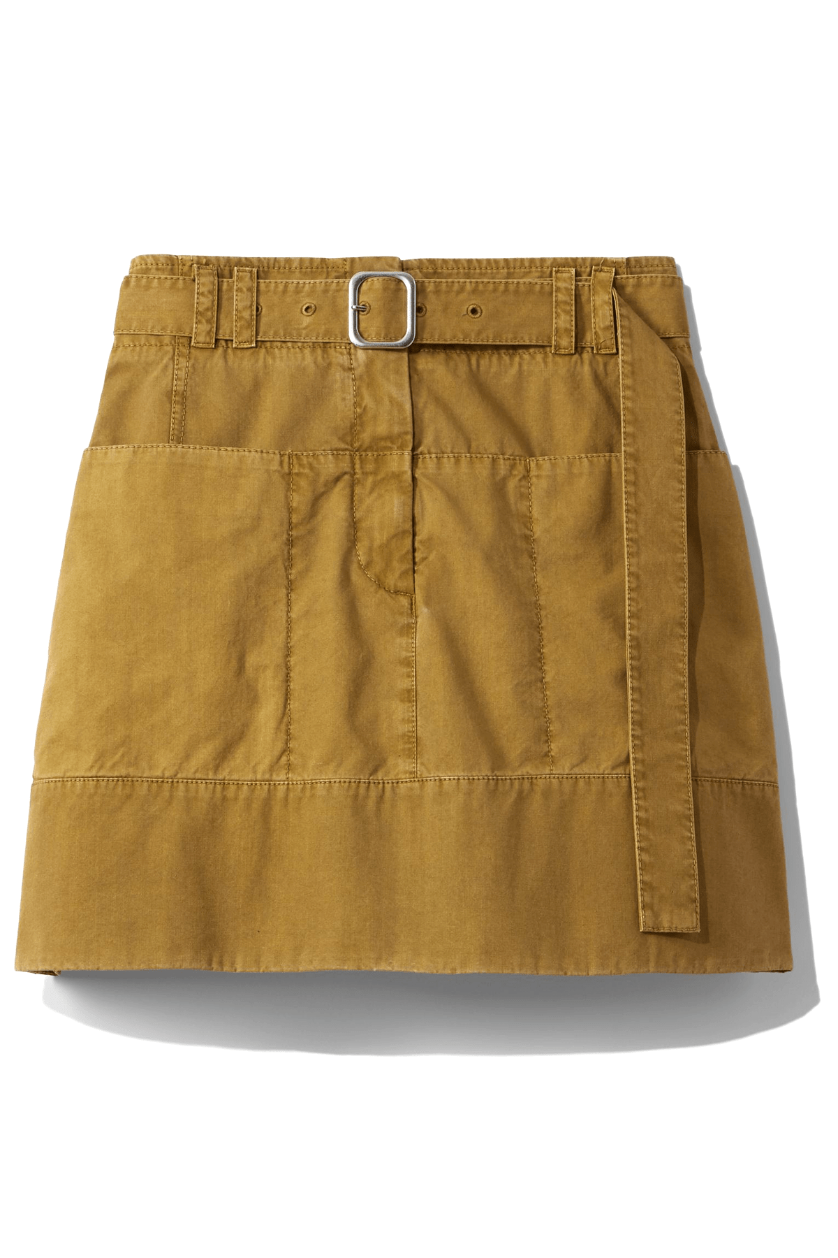 Washed Cotton Belted Skirt in Moss