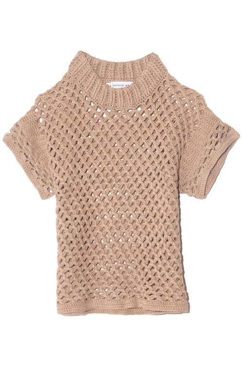 Ami Cropped Net Knit Top in Au Lait