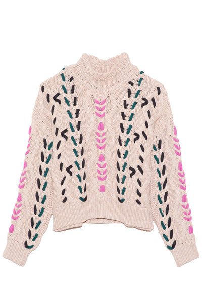 Zola Sweater in Pink/Ecru