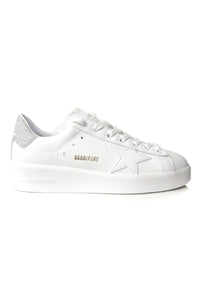Pure Star Sneakers in White Leather/Silver Glitter Heel