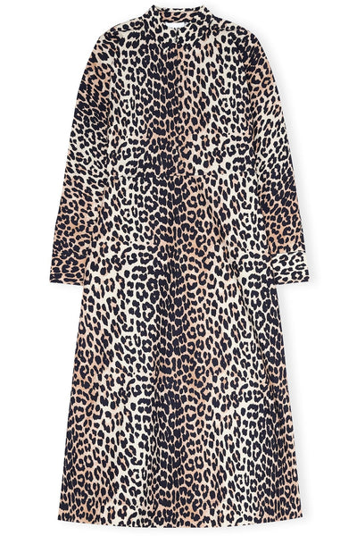 Printed Cotton Poplin Long Sleeve Maxi Dress in Leopard