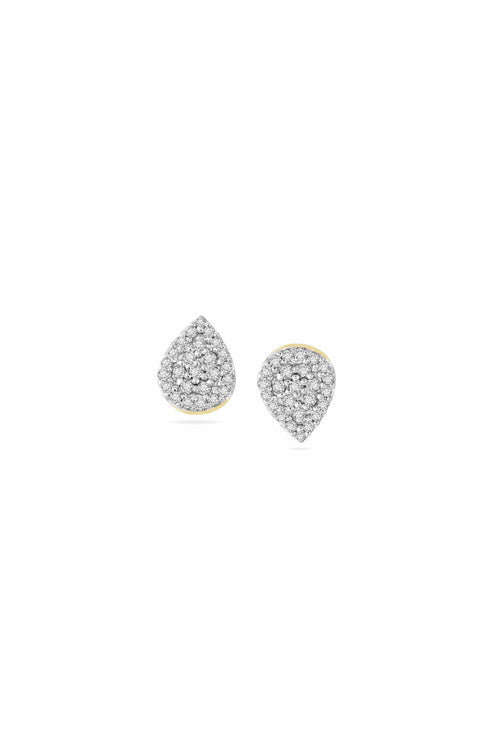 Solid Pave Teardrop Stud Earrings in Yellow Gold
