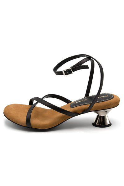 Vase Strappy Sandal in Black and Tan Suede Fussbett