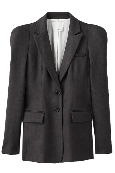 Bonded Wesson Linen Sculpted Sleeve Blazer in Storm Grey