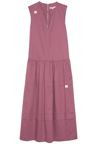 Eco Poplin Splitneck Dress in Light Huckleberry
