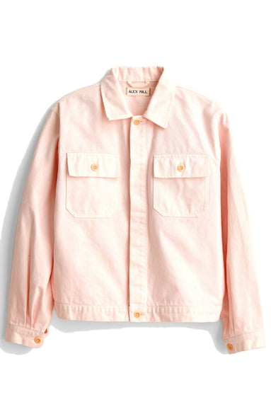 Washed Denim Work Jacket in Rose Water