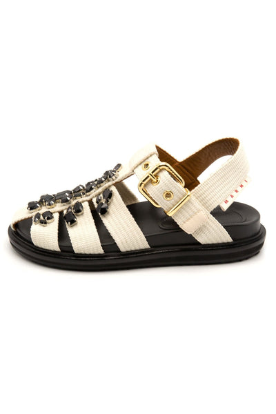 Jeweled Fussbett Sandal in White
