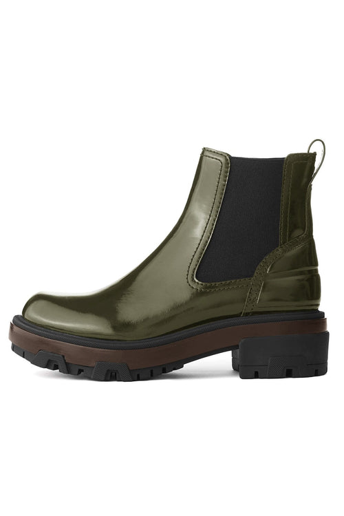 Shaye Leather Boot with Rubber Sole in Legion Green