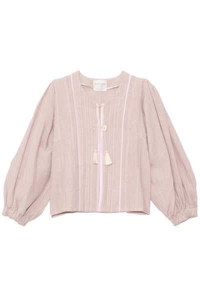 Linen Viscose Jacket in Pink Seashell